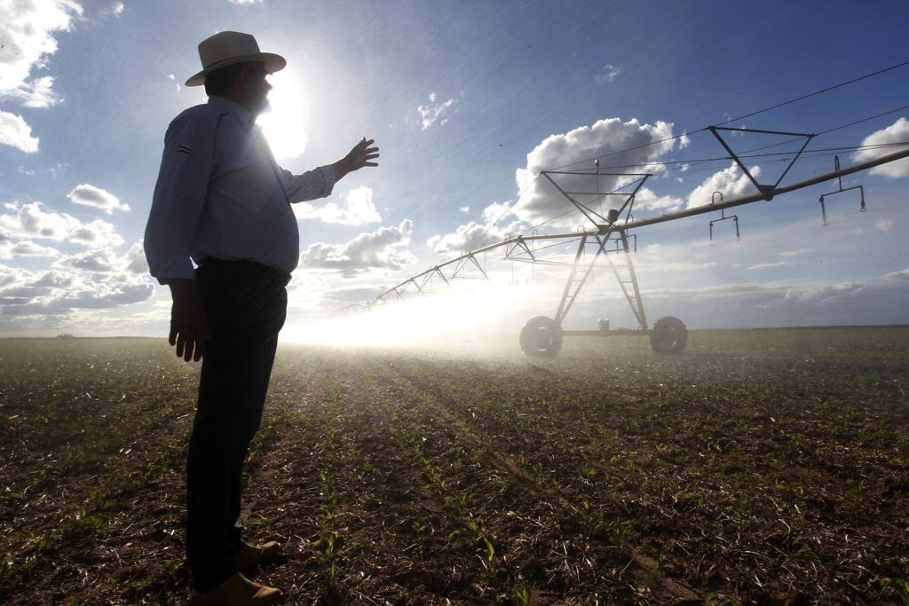 """""""Plantação de soja com irrigação em Luís Eduardo Magalhães, na Bahia. Daniel Caron /Gazeta do Povo"""" Leia mais em: https://www.gazetadopovo.com.br/eleicoes/2018/superministerio-da-agricultura-de-bolsonaro-assombra-ambientalistas-como-seria-411eyv1m5cma7l7g87n226dtd Copyright © 2018, Gazeta do Povo. Todos os direitos reservados."""