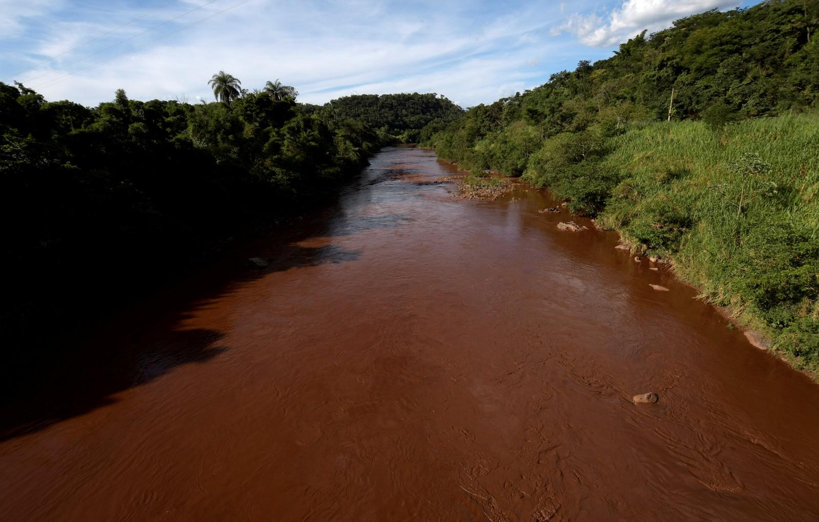Lama que chegou ao rio após rompimento da barragem deve chegar a Pará de Minas — Foto: Washington Alves/Reuters